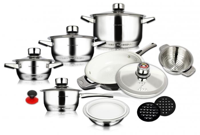 16 pcs mushroom edge S/S cookware set